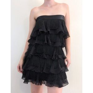 bebe Josie Fringe Mini tube Dress Black Medium